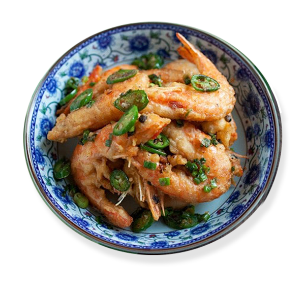 Salt and pepper king prawns